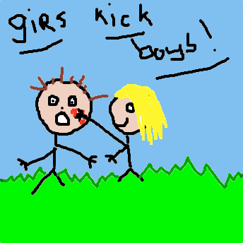 Girls kick boys!
